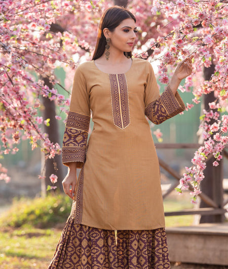 Hand Block Brown Rayon Sharara Kurta Set With Geometric Print