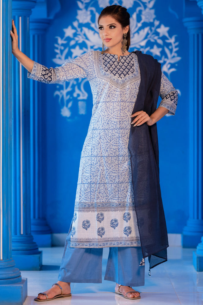Hand Block Monotone Blue Cotton Kurta Set With Kota Dupatta