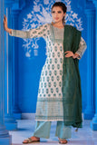 Hand Block Emerland Green Cotton Kurta Set With Kota Dupatta