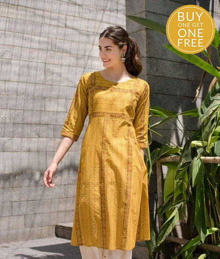 hand block mustard cotton Kurta