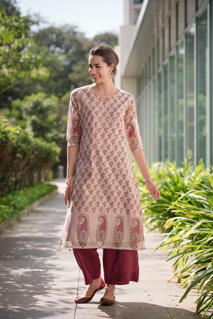 hand block pink silk cotton Kurta Set