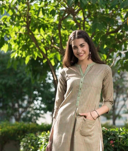 hand block multicolor cotton linen Kurta