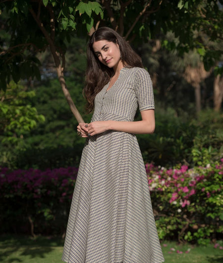 hand block grey cotton linen Dress