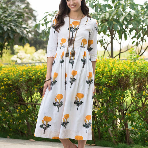 hand block white cotton Dress