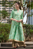 hand block sea green cotton Kurta