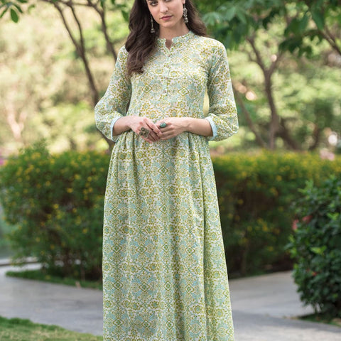 hand block off white and olive green cotton Kurta Set