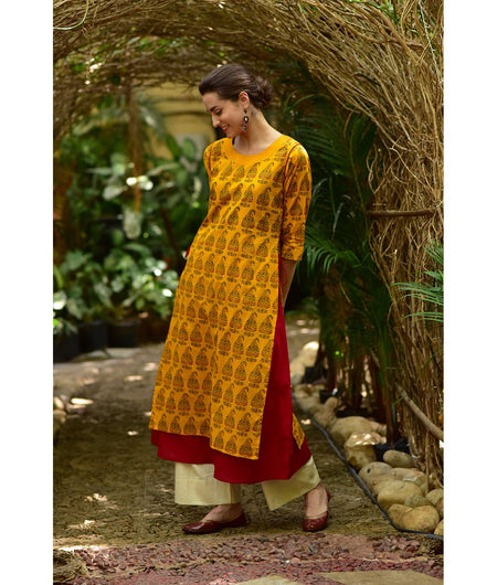 Hand Block Mustard and Maroon Cotton Kurta