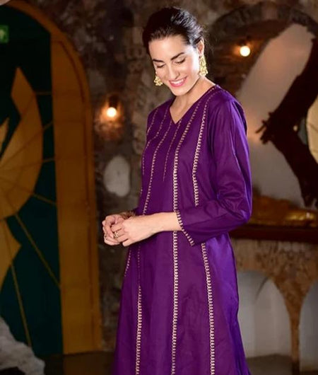 Hand Block Purple And Citrine Cotton Kurta Set