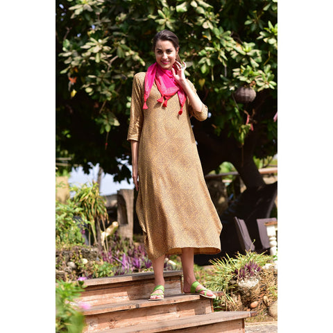 Hand Block Mustard rayon Dress
