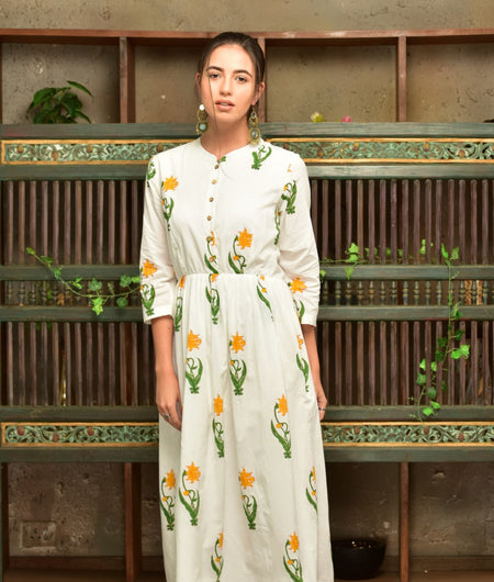 White Cotton  Dress With Green And Yellow Floral Prints