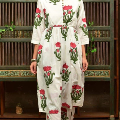 White Cotton  Kurta Set With Red And Green Floral Print