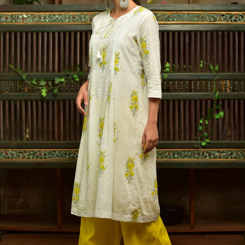 White Cotton  Kurta Set With Yellow Floral Prints