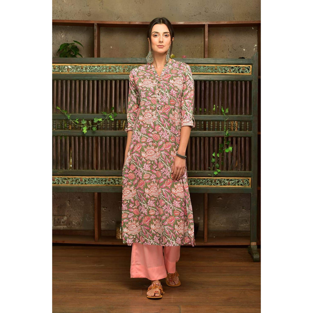 green cotton  kurta set with pink floral prints