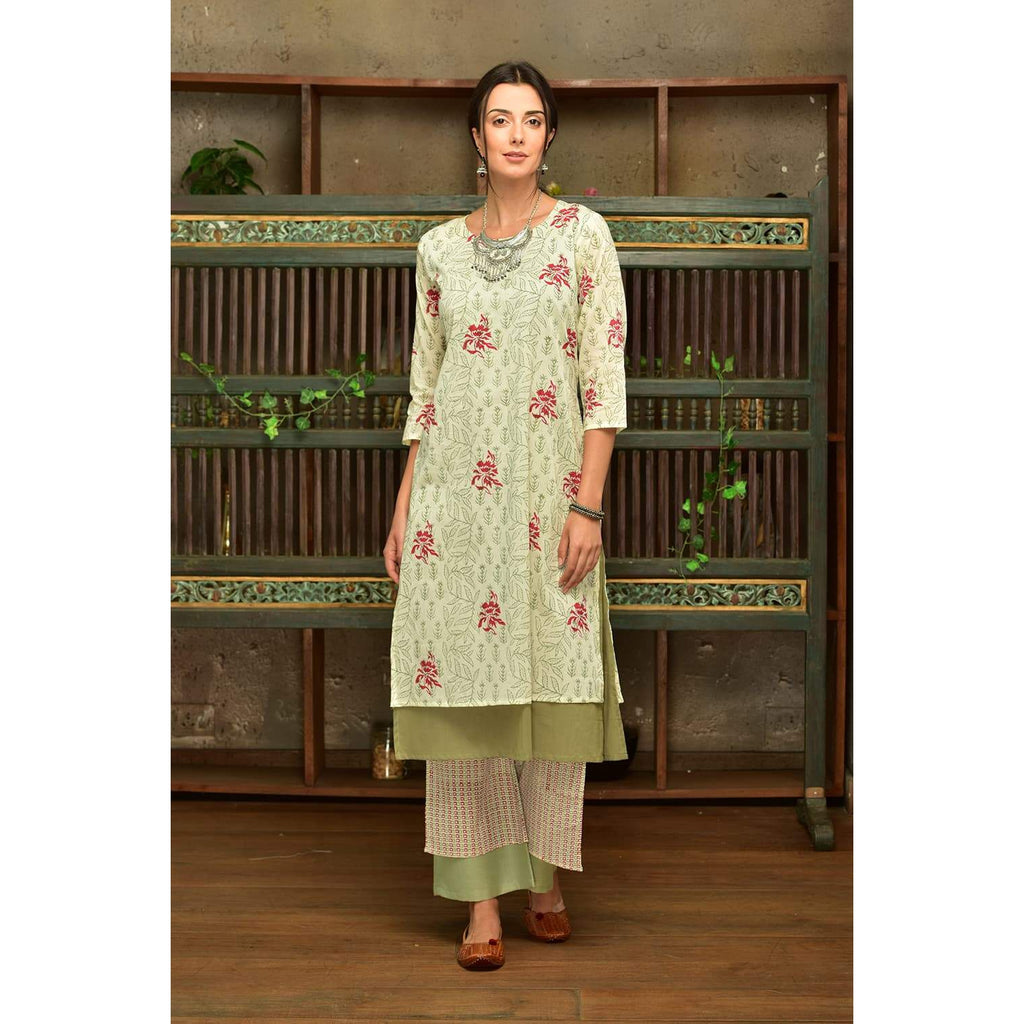 Green Cotton  Kurta Set With Green And Red Prints