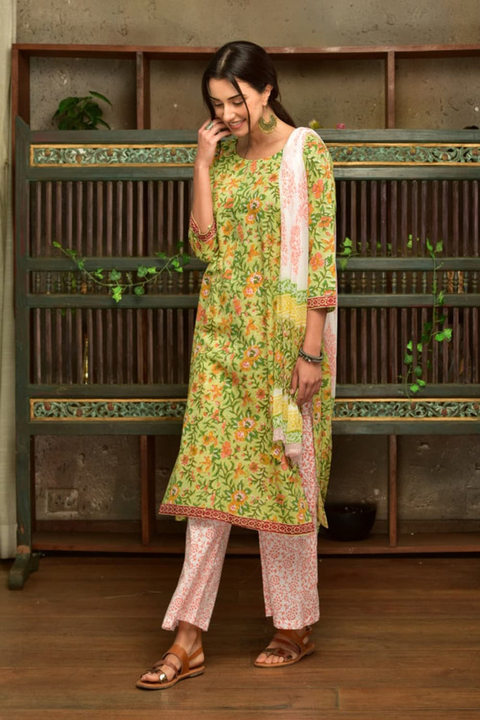 Green  Cotton  Suit Set With Yellow Butta
