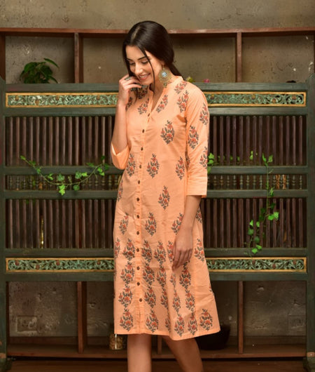 Peach Cotton  Shirt Dress With Green And Red Butta