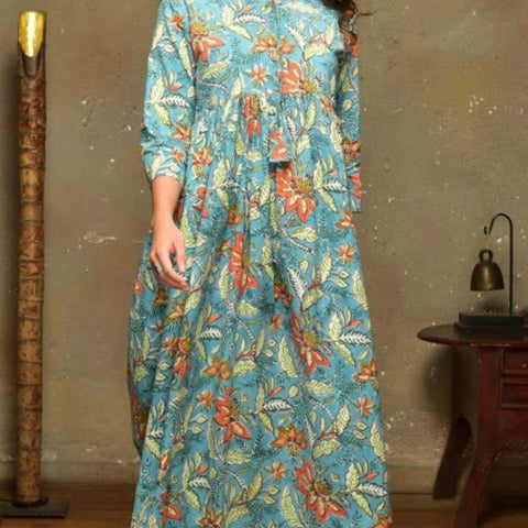 Blue Cotton  Gathered Dress With Multicolour Butta