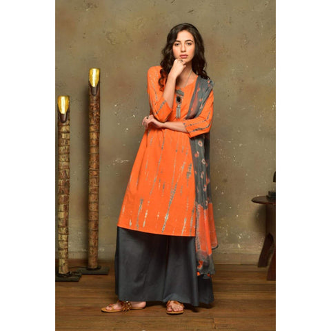 Orange Cotton  Suit Set With Grey Shibori Print