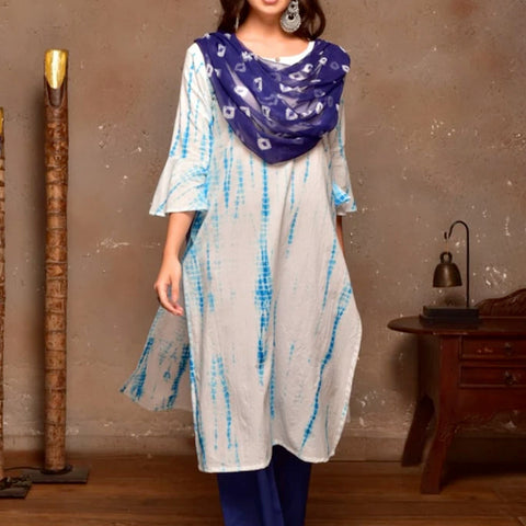 White Cotton  Suit Set With Blue Shibori Prints