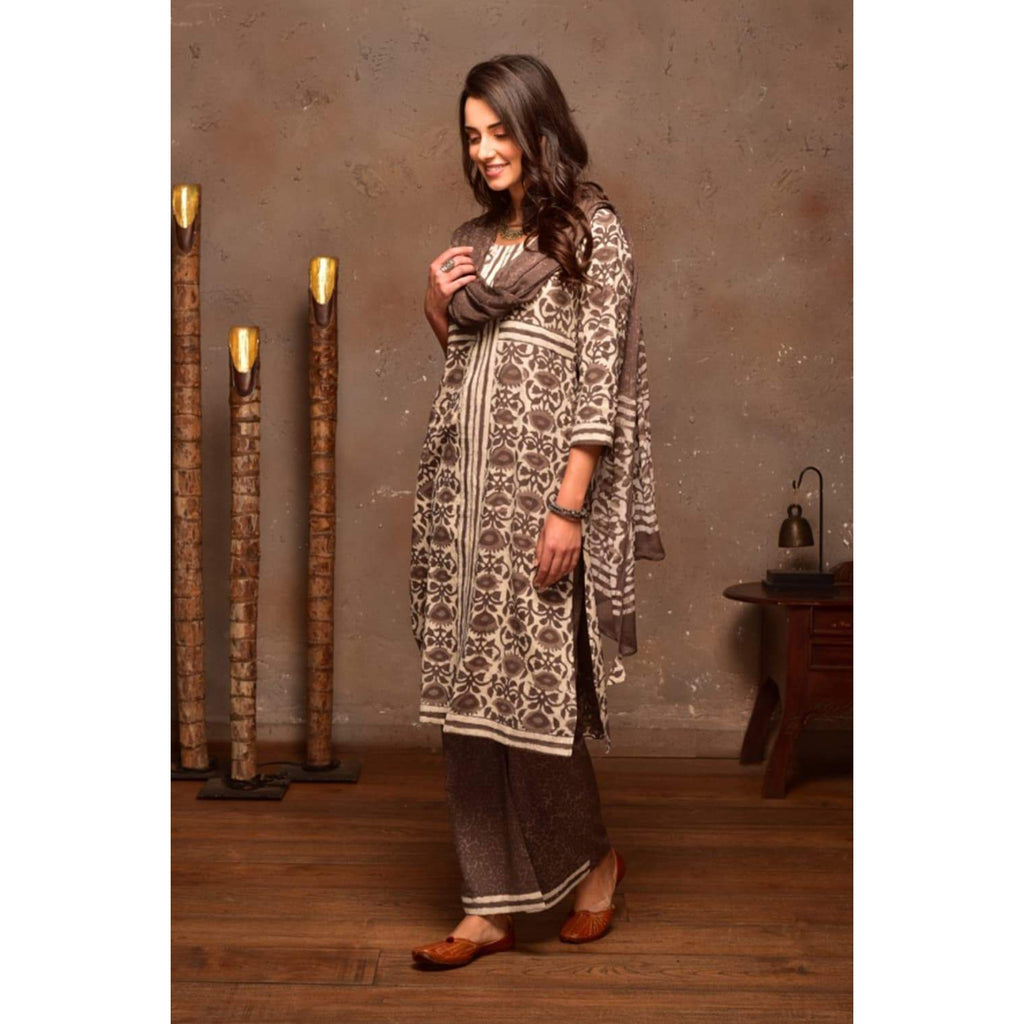 Brown Cotton  Suit Set With Brown Prints