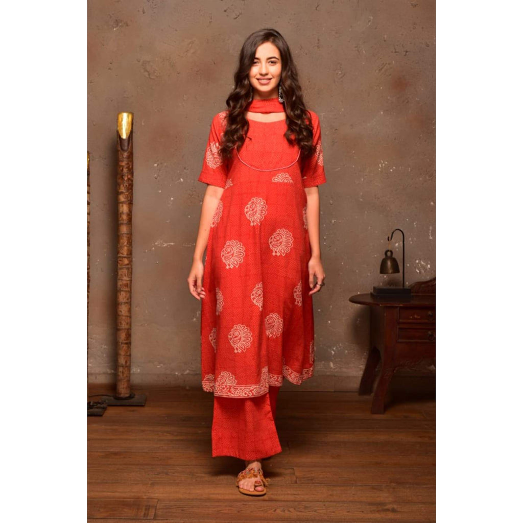 Red Cotton Suit Set With Peacock Motif