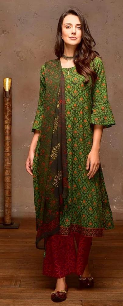 Dark Green Cotton  Suit Set With Light Green Prints