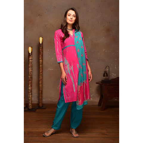 Hot Pink  Cotton  Suit Set With Turquoise Green Shibori Prints
