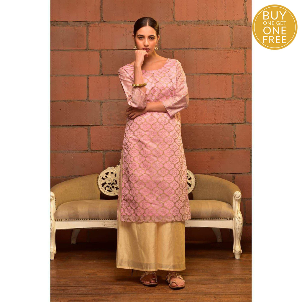 Baby Pink Chanderi Kurta Set With Gold Butta Prints