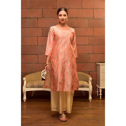 Pink  Chanderi Kurta Set With Silver Mettalic Butti