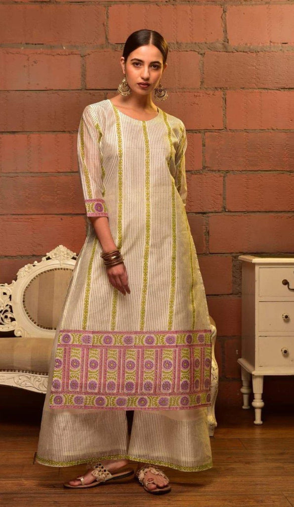 White Chanderi Kurta Set With Green Prints