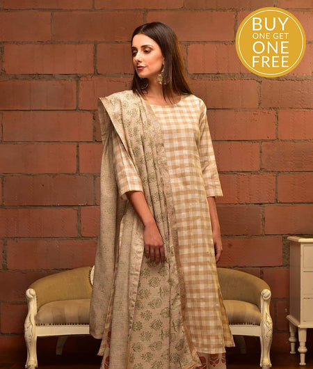 Off White Cotton Linen Suit Set With Brown Check Prints