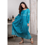 Hand Block Printed Turquoise Malmal Fit And Flare Dress