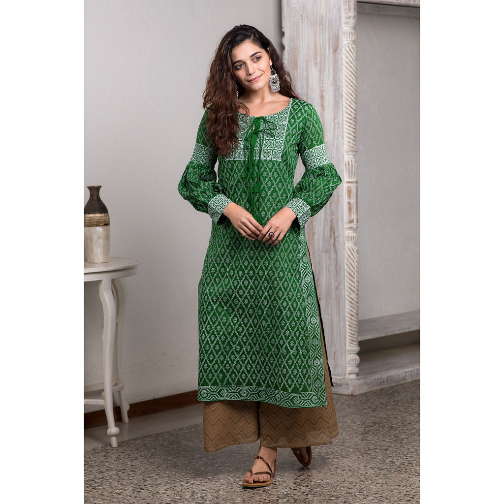Khadi Block Printed Green And Brown Malmal A-line Kurta With Flare Palazzo