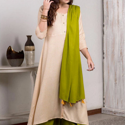 Woven Off White And Citrine Bias Kurta Set With Tassel Dupatta