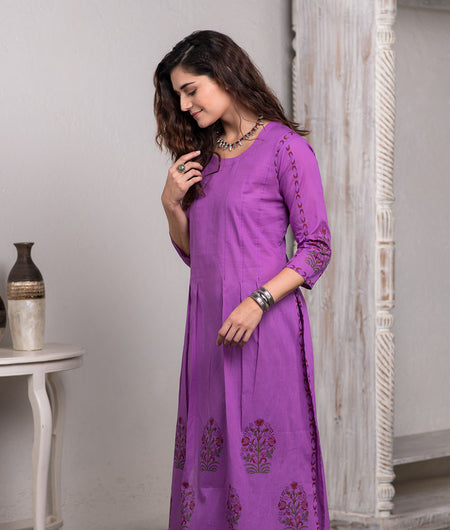Khari block printed purple pleated kurta with straight pants