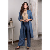 Hand Block Printed Royal Blue And Beige Jacket And Trouser Set