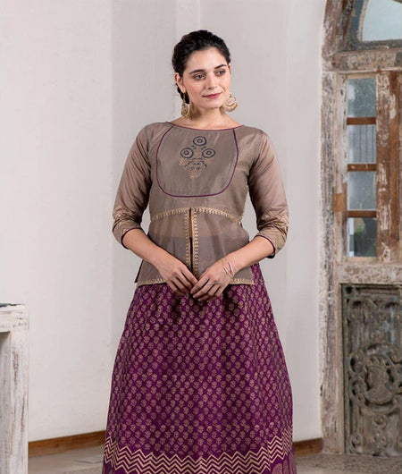 Hand Block Printed Purple And Beige Skirt With Choli Top
