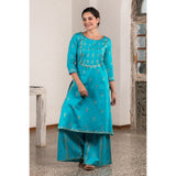 Metallic Block Printed Rama Blue A-line Kurta With Kali Palazzo
