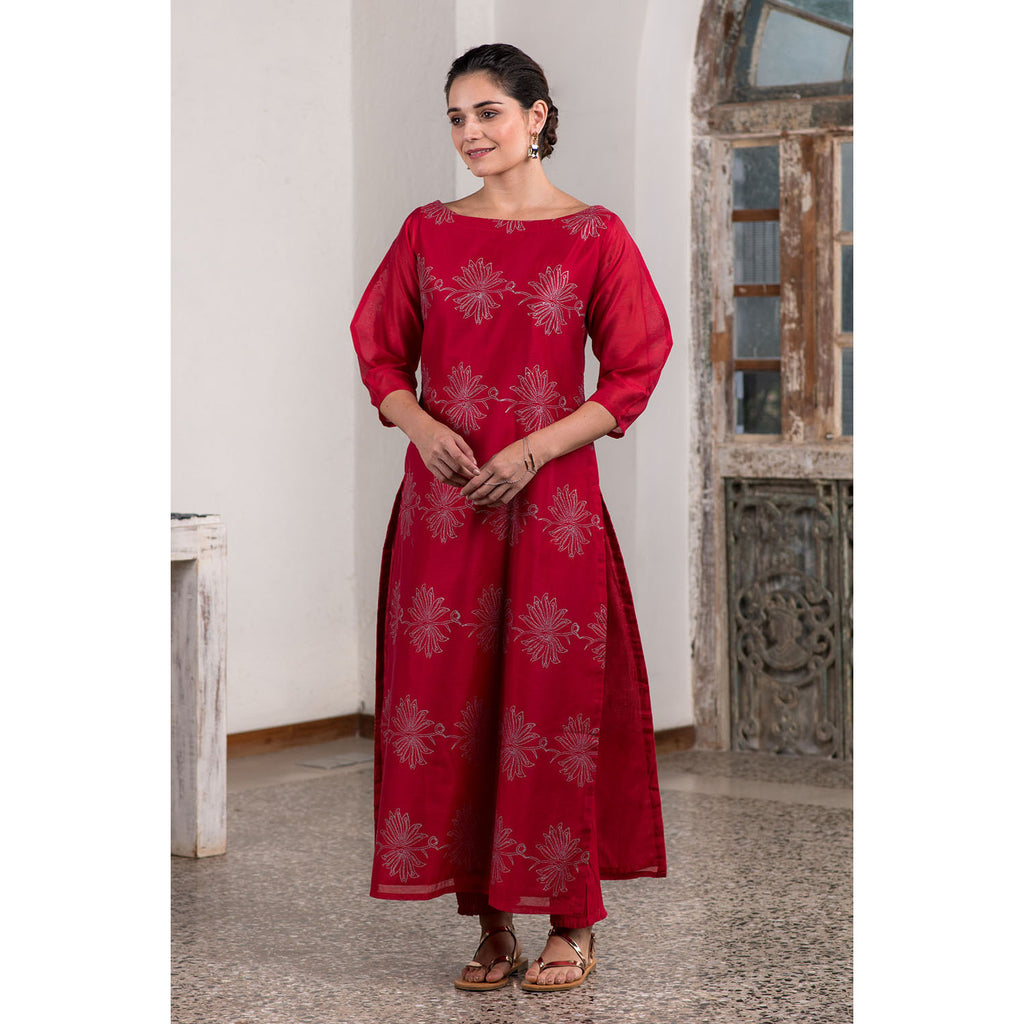 Metallic Block Printed Red Kurta And Straight Pant Set