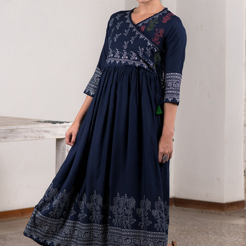 Metallic Block Printed Navy Blue Angrakha Dress