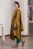Potli Handmade Metallic Yellow Drapped Dupatta Dress With Pants