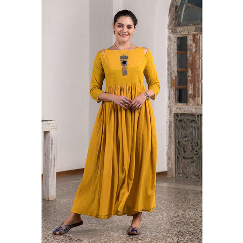 Woven Haldi Yellow Halter Tie Up Long Dress