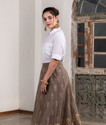 Metallic Block Printed Ash Brown Skirt With Casual White Shirt