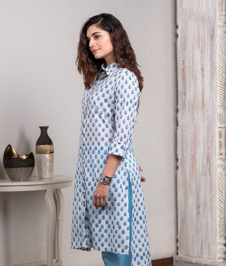 Hand Block Printed Sky Blue Shirt Kurta With Pants Set