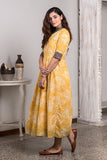 Hand Block Printed Yellow Long Dress