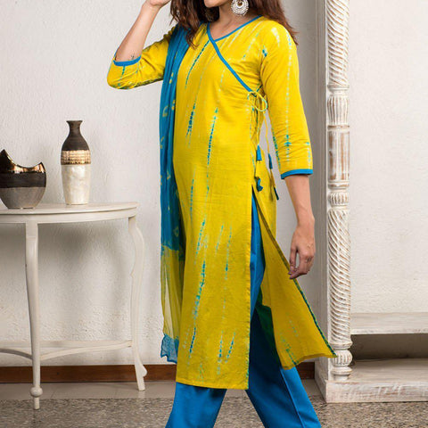 Shibori Tie And Dye Yellow And Blue Kurta Pant And Dupatta Set