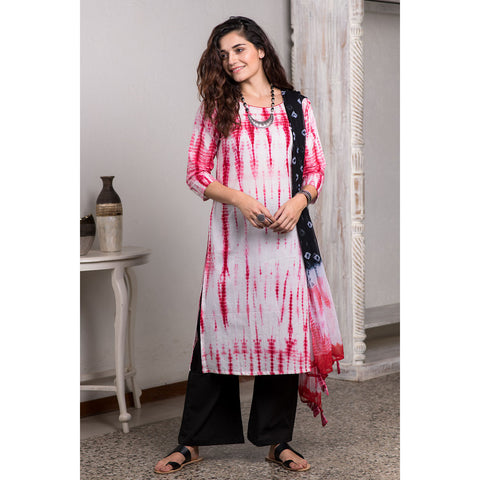 Shibori Tie And Dye White And Red Kurta Pant And Dupatta Set