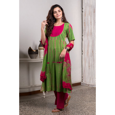 Shibori Tie And Dye Green And Pink Kurta Pant And Dupatta Set