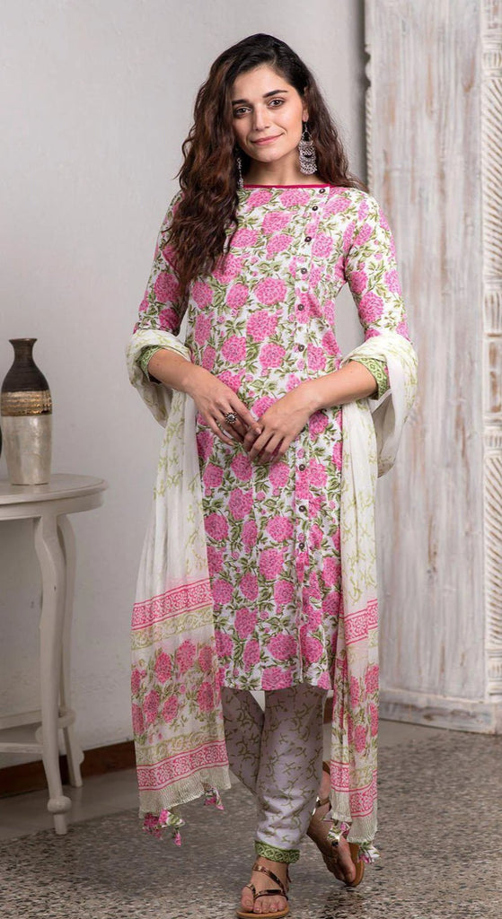 Hand Block Printed Peach Kurta Pant And Dupatta Set