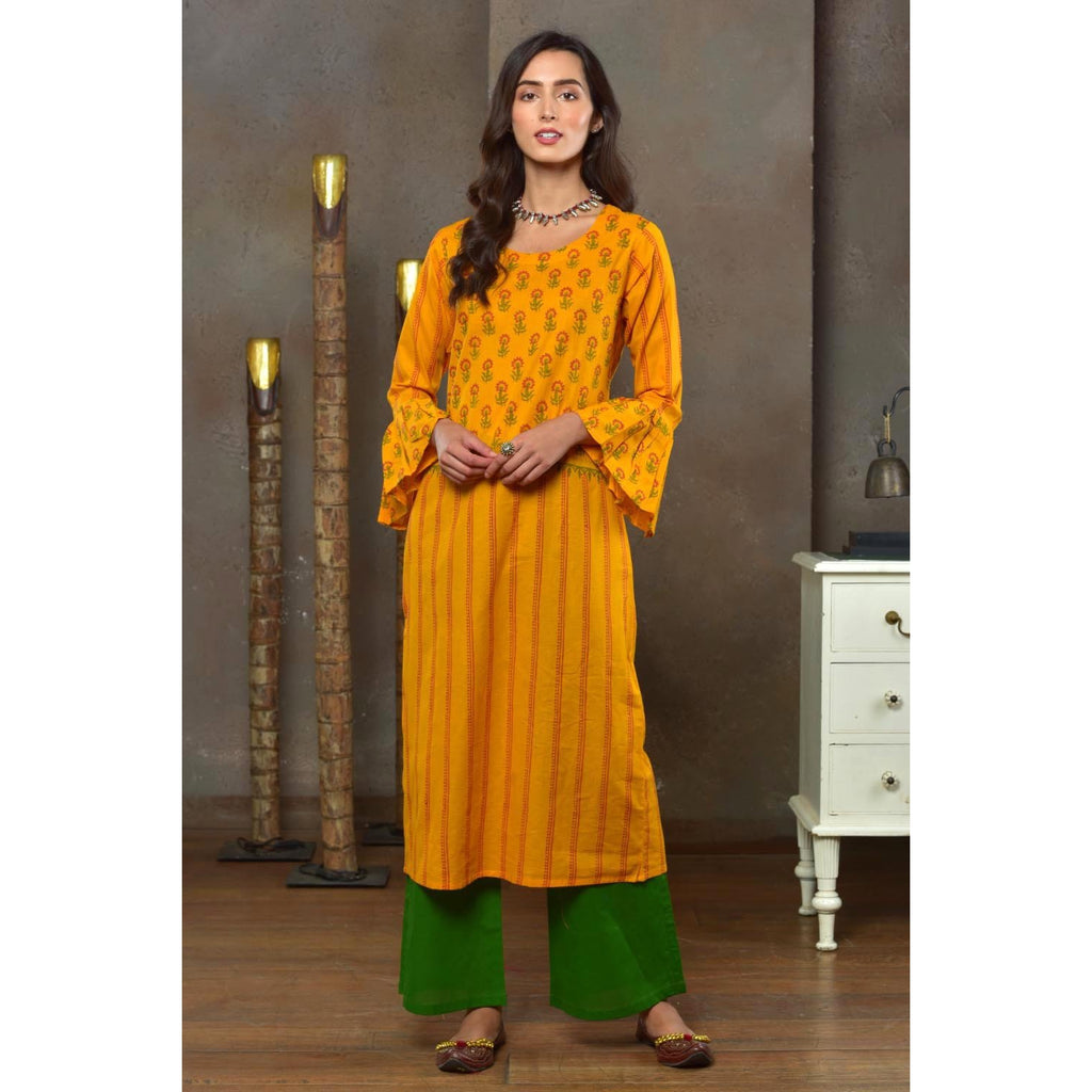 Mustard And Green Cotton Kurta With Hand Block Work